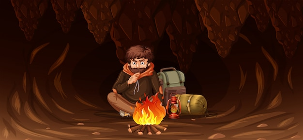 Man trapped in cave Free Vector