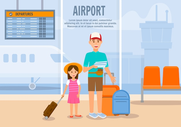 Man travel with girl and luggage by plane Premium Vector