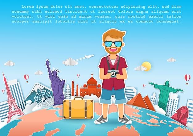 Man traveler travel around the world concept Premium Vector