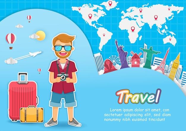 Man traveler travel around the world concept. Premium Vector