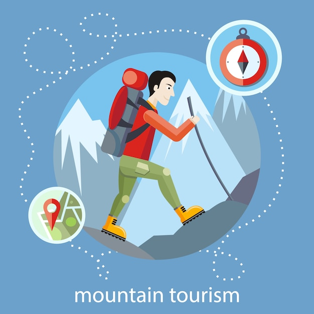 Man traveler with backpack hiking equipment walking in mountains. mountain tourism Premium Vector