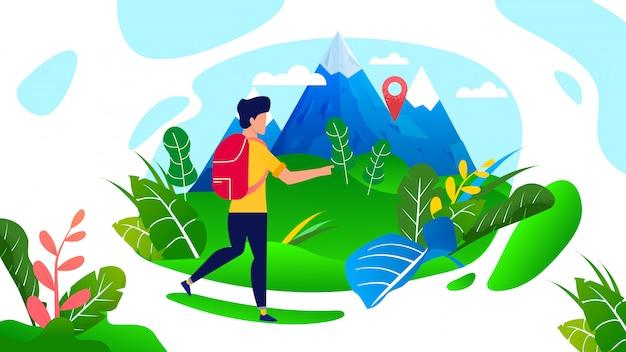 Man traveler with backpack walking in mountains cartoon Premium Vector