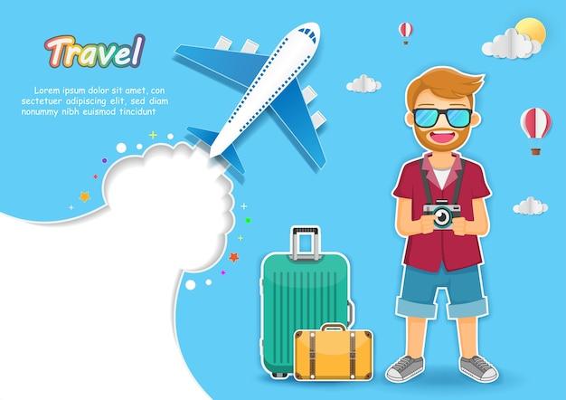 Man traveler with luggage background. Premium Vector