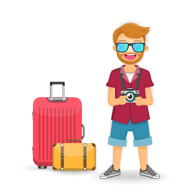 Man traveler with luggage isolate on white background. Premium Vector
