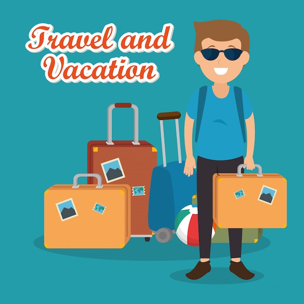 Man traveler with suitcases characters Free Vector
