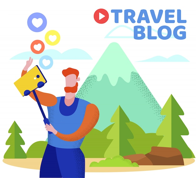 Man traveling blogger make selfie at mountains Premium Vector