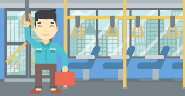 Man traveling by public transport. Premium Vector