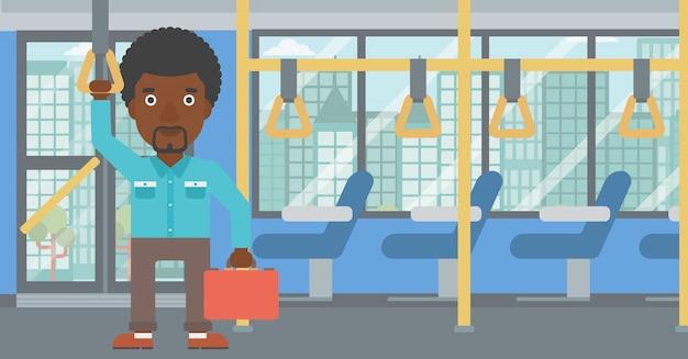 Man traveling by public transport. Premium Vector