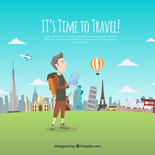 Man travelling with a map background Free Vector