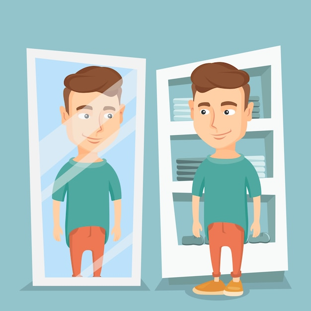 Man trying on t-shirt in a dressing room. Premium Vector