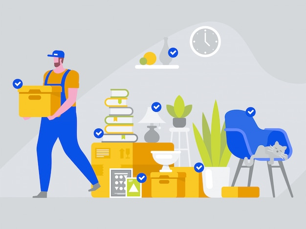 Man in uniform with cardboard boxes, moving house Premium Vector