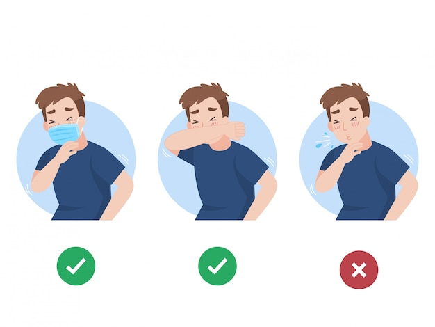 Man use elbow cover mouth before sneeze and don't do Premium Vector