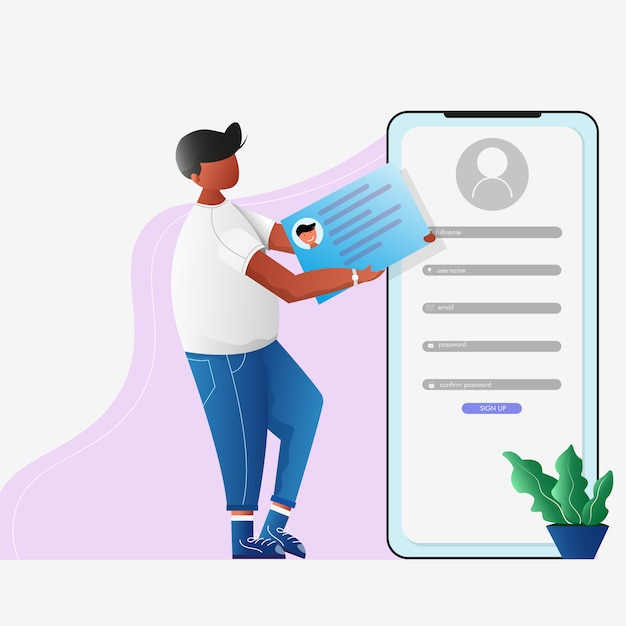 Man use a id card to sign up account concept Premium Vector