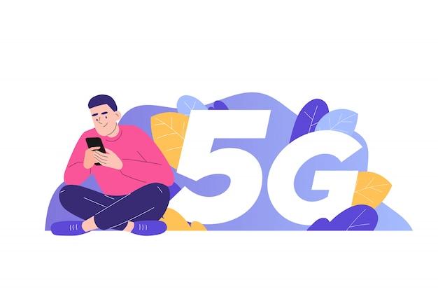 Man using 5g on smartphone Premium Vector