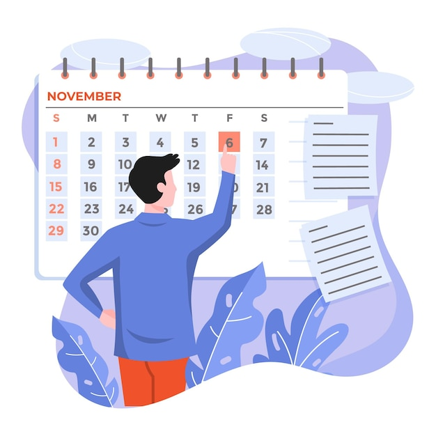 Man using a calendar for remembering an appointment Free Vector