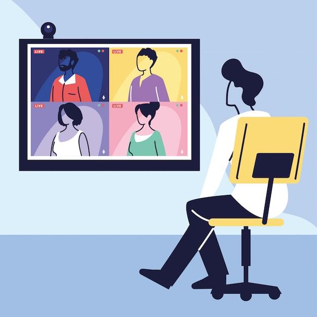 Человек использует компьютер для виртуальной встречи, видеоконференции, удаленной работы, технологии Premium векторы