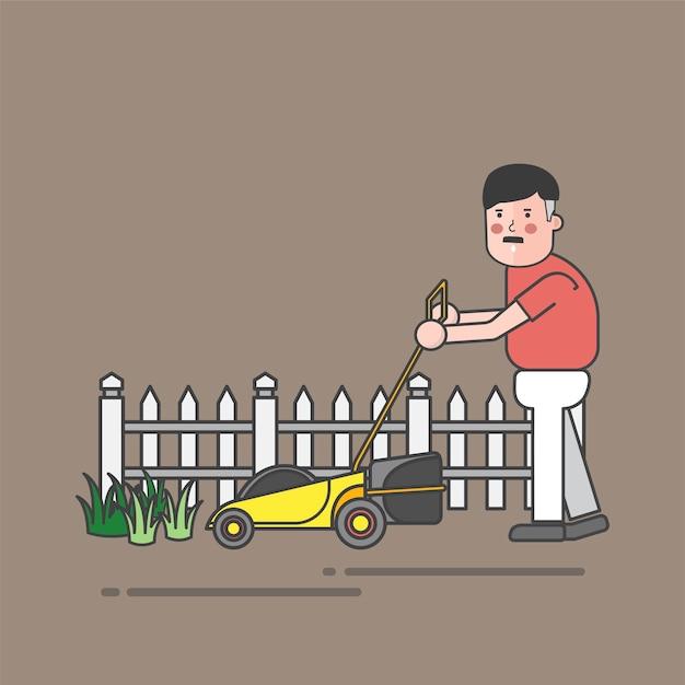 Man using mower Free Vector
