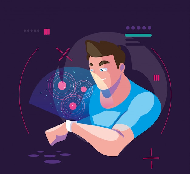 Man using technology of augmented reality Premium Vector