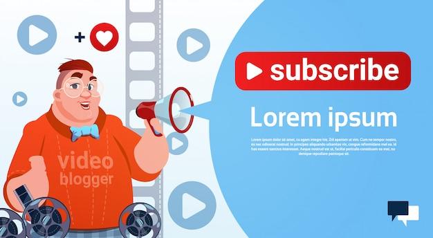 Man video blogger camera computer screen blogging subscribe concept Premium Vector