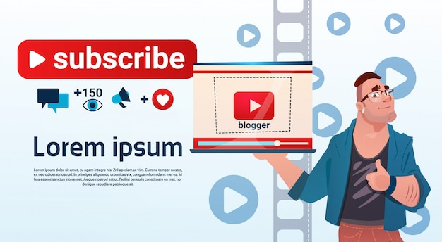 Man video blogger online stream blogging subscribe concept Premium Vector