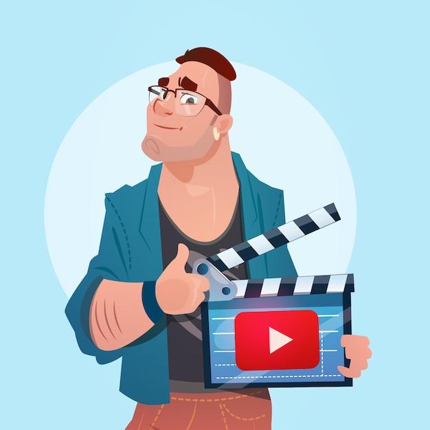 Man video blogger online stream blogging subscribe concept Premium Vector