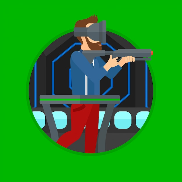 Man in virtual reality headset playing video game. Premium Vector