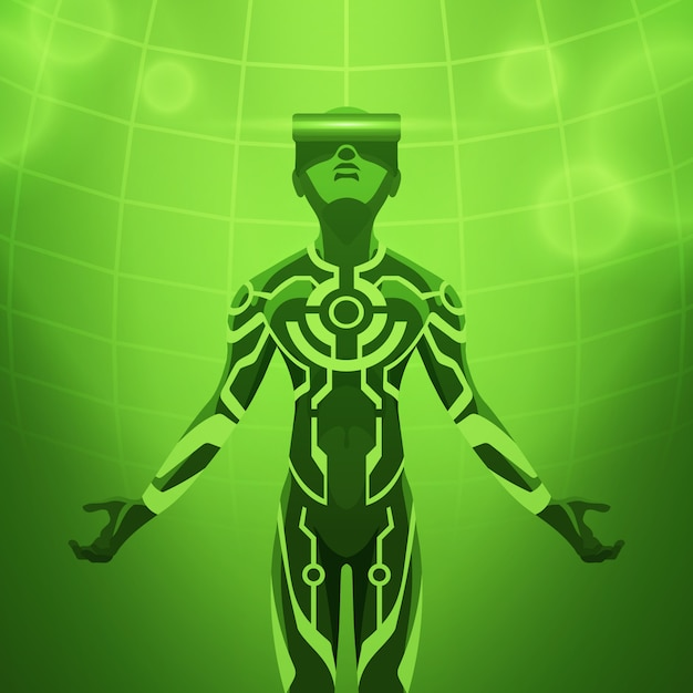 Man in the virtual reality headset Premium Vector