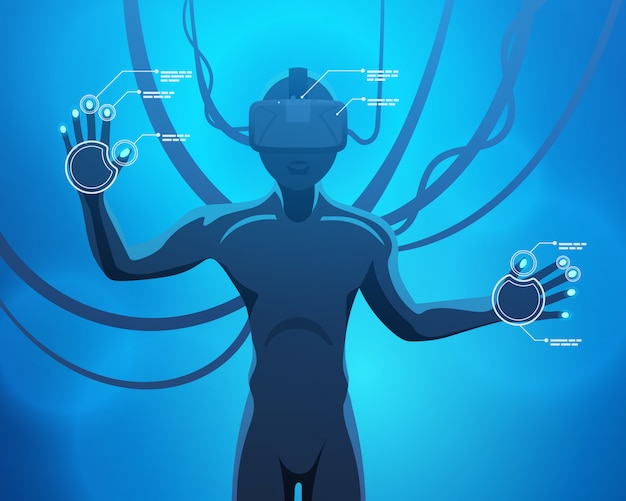 Man in a virtual reality helmet Premium Vector