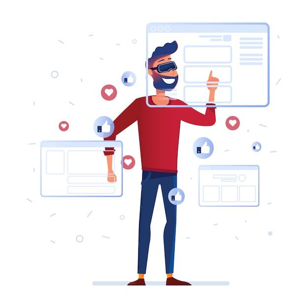 A man in vr headset analyzing virtual data Premium Vector