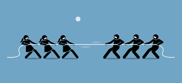 Man vs woman in tug of war. illustration artwork depicts feminist, gender equality, strength, and power of male versus female. Premium Vector