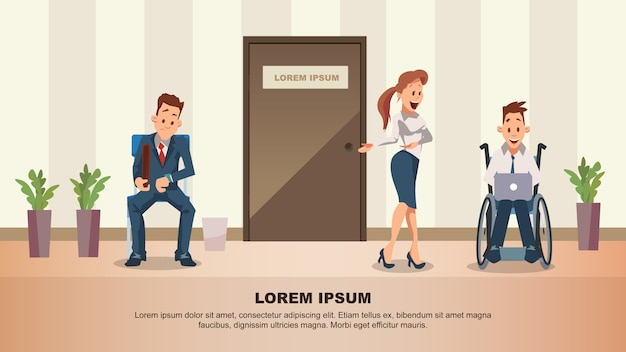 Man wait job interview at door Premium Vector