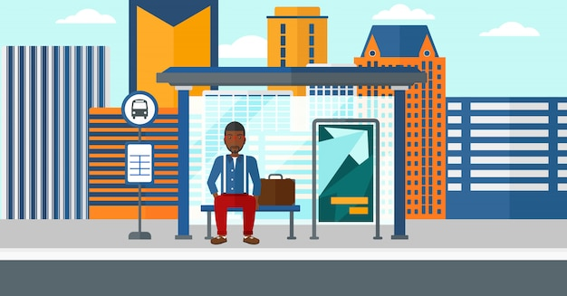 Man waiting for bus Premium Vector