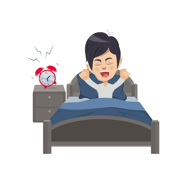 Man wakes up in the morning Premium Vector