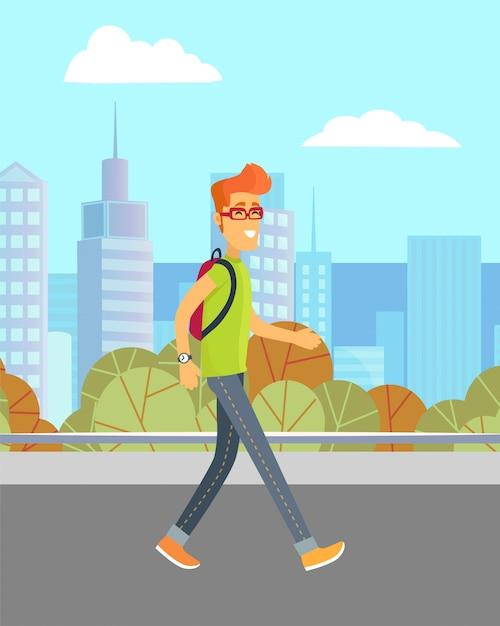 Man walking on street Premium Vector