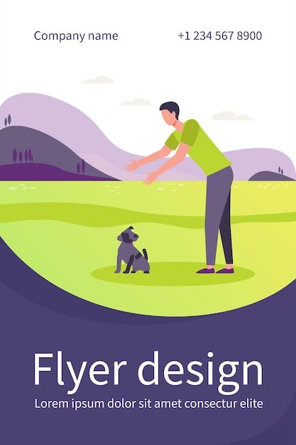 屋外で犬と一緒に歩く男。地面の平らなチラシテンプレートから子犬を選ぶために手を伸ばす男 無料ベクター