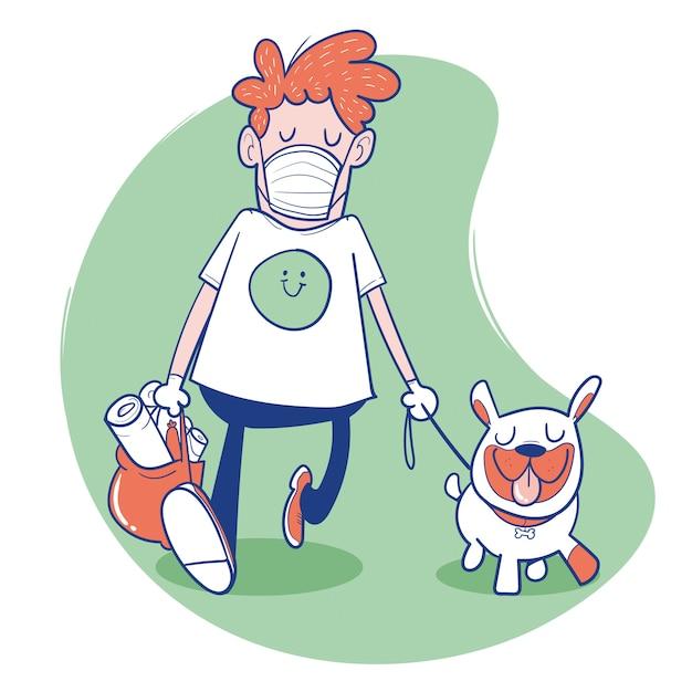Человек идет с маской и собакой Premium векторы