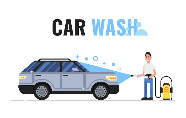 Man washes car with soap and water Premium Vector