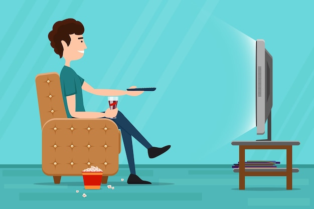 Man watching television on armchair. tv and sitting in chair, drinking and eating. vector flat illustration Free Vector