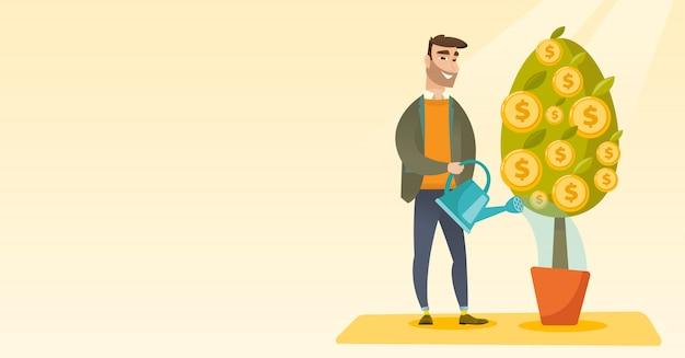 Man watering financial tree. Premium Vector