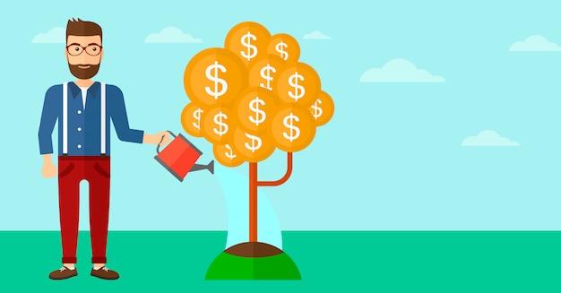 Man watering money tree. Premium Vector