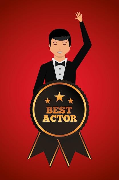 男賞を受賞した最高の俳優とスタイリッシュな服を振って Premiumベクター
