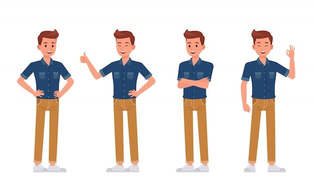 Man wear blue jeans shirt character set Premium Vector