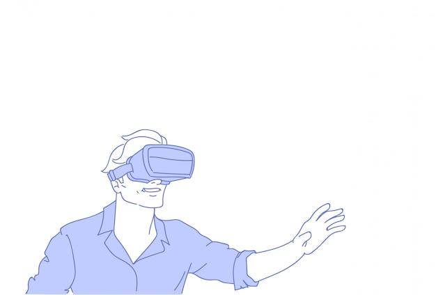 Man wear vr modern 3d glasses playing virtual reality games Premium Vector