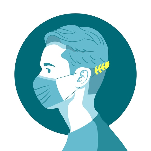 Man wearing an adjustable face mask strap Free Vector