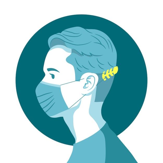 Человек, носящий регулируемый ремешок маски для лица Бесплатные векторы
