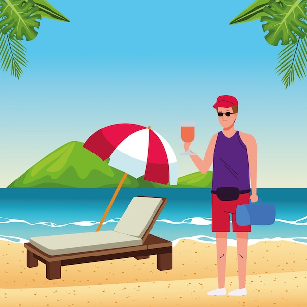 Man wearing beach suit drinking cocktail character Premium Vector