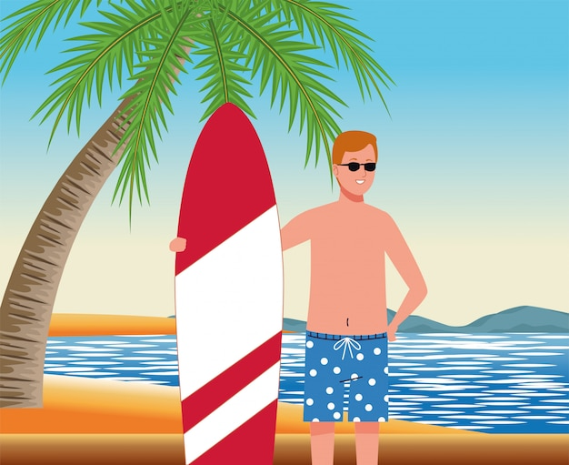 Man wearing beach suit in surfboard character Premium Vector