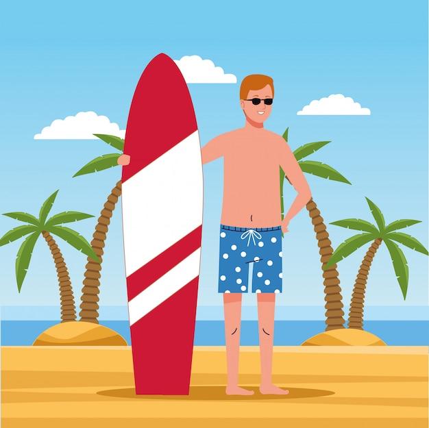 Man wearing beach suit in surfboard character Premium Vector