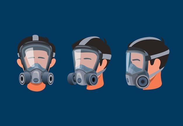 전체 얼굴 인공 호흡기 마스크를 착용하는 남자. 가스 및 먼지 오염 기호 아이콘 보호 장비 만화 그림에서 개념을 설정 프리미엄 벡터