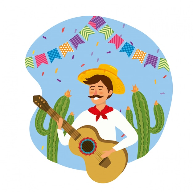 Man wearing hat with guitar and cactus plants Premium Vector